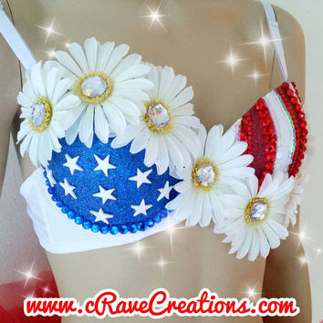 Red, White, and Beautiful Design with Tutu and Optional LEDs that Light Up! Custom Rave Bra Bling EDC Ultra Daisy Glitter Rhinestone Sequins