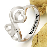 "Sister Ring for Sister Double Infinity Ring, Promise Ring ""My Sister is My Half"" Engraved on Inside Best Gift for Sister"