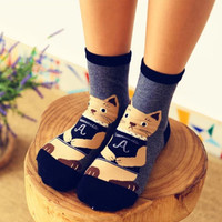 Cute Meditating Cat Cotton Socks Set (2 pairs)
