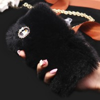 WARM Fluffy Plush BLACK  Faux FUR Bling Case Cover Skin For iPhone 6/ 6S Plus FREE SHIPPING USA ONLY