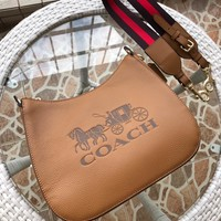Kuyou Gb89815 Coach Jes Hobo Brown Grained Calfskin Crossbody Bag With Horse And Carriage Print 72702 32x24x9cm