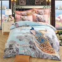 Svetanya Peacock Sheet Pillowcases & Quilt cover Sets 100% Sanded Cotton Queen Full King Size Bed Linens