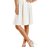 Ivory Textured & Pleated Full Midi Skirt by Charlotte Russe