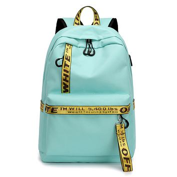 Off White New Fashion Letter Print Couple Leisure Shopping Personality Backpack Bag