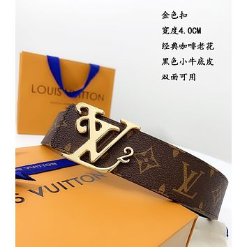 lv louis vuitton womens mens fashion smooth buckle belt leather belt monogram leather belt 35