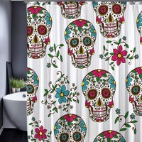 Beauty Skull Pattern Polyester Customized Shower Curtain Bathroom Accessories Waterproof Bathroom Fabric Shower Curtains