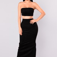 Very Structured Suede Skirt Set - Black