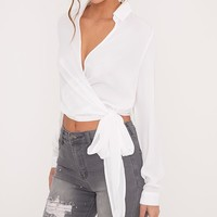 Avalyn Cream Wrap Front Tie Side Blouse