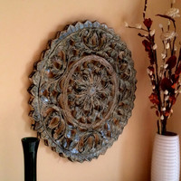 Rustic Antique Wall Panel of Reclaimed Wood Hand Carved Handmade - Tropical Grey