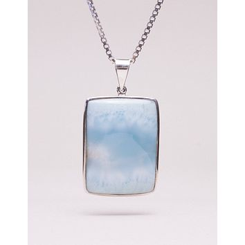 Larimar Square Pendant Necklace - One of a Kind