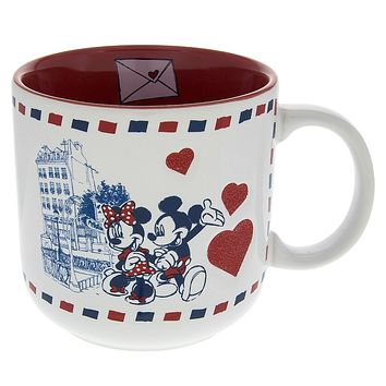 Disney Parks Epcot France Mickey Minnie Paris Love Hearts Ceramic Coffee Mug New