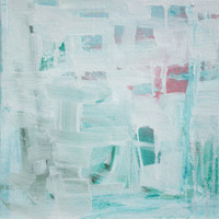 Abstract Expressionist pastel blue blue white painting