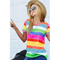 Vibrant Rainbow Striped Top