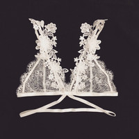 SALE - 15% off for any 3 items, Bralette, lace bra, back applique, handmade bralet, sexy lingerie - Butterfly