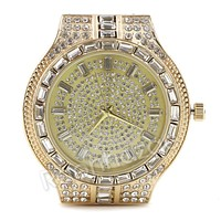 Simulated Diamond Round Stone Gold Silver Plated Hip Hop Bling Watch 24