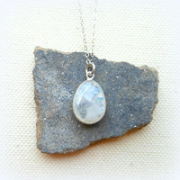 Rainbow moonstone necklace sterling silver chain travelers stone protection amulet moon