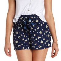 BOW-TOPPED FLORAL PRINT HIGH-WAISTED SHORTS