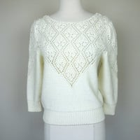 1980s white crochet sweater, acrylic knit top, sheer long sleeve pull over shirt, small, size 6