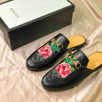 Gucci Princetown Embroidered Flower Black Leather Slipper Sandals - Best Online Sale