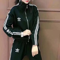 """Adidas""Woman's Leisure Fashion Letter Embroidery Print   Zipper Long Sleeve Top Trousers Two-Piece Set Casual Wear"