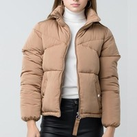 Cooped Up Puffer Jacket Camel