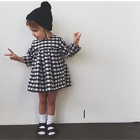 2016 new spring and autumn baby girls dress plaid ins style fashion long sleeve dress kids clothes 18M-5Y