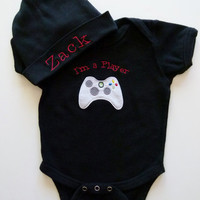 Personalized Baby Boy Onesuit and Beanie Hat Player Gift Set For Your Little Man