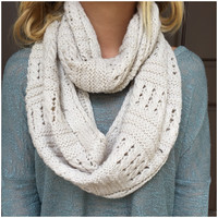 Oatmeal Thick Knit Infinity Scarf - Oatmeal Thick Knit Infinity Scarf