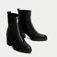 HIGH HEEL LEATHER ANKLE BOOTS WITH ZIP DETAILS