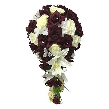 Keepsake Cascade Bouquet- Dark Burgundy and White or Ivory Quality Artificial Rose and Lily Bouquet