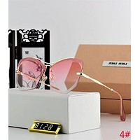 Miu Miu Fashion Classic Women Summer Style Sun Shades Eyeglasses Rimless Glasses Sunglasses 4# Pink I12645-1
