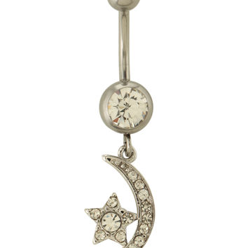 """14G 7/16"""" Steel Moon And Star Navel Barbell"""