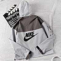 NIKE Fashion New Letter Hook Print Hooded Long Sleeve Windbreaker Coat Gray