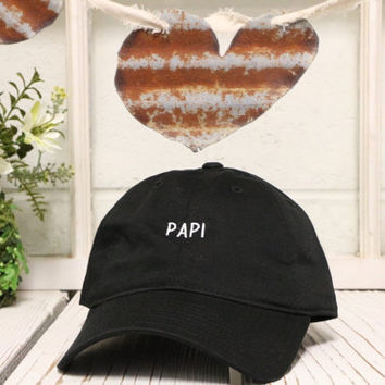 PAPI Baseball Hat Low Profile Embroidered Baseball Caps Dad Hats Black