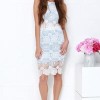 North Country Flair White and Blue Lace Two-Piece Dress