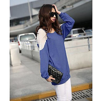 Women's Round Neck Lace Blouse , Cotton/Polyester Long Sleeve