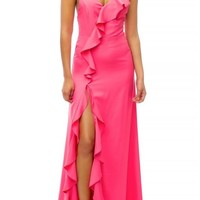 Kara Pink Ruffle Slit Leg Maxi Dress
