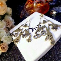 CREY3DS Dior logo stud New arrival Electroplating of 18 K gold with retro earrings stud gold