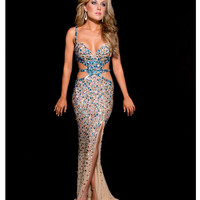 Jasz Couture 2013 Prom - Nude & Turquoise Sexy Rhinestoned Gown - Unique Vintage - Cocktail, Pinup, Holiday & Prom Dresses.