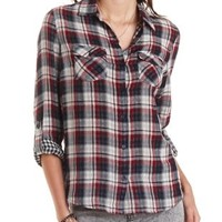 Mixed Plaid Button-Up Top by Charlotte Russe
