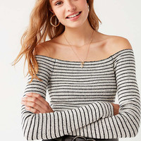 UO Shilo Off-The-Shoulder Striped Sweater | Urban Outfitters