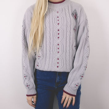 Vintage Tribal Knit Gray Sweater