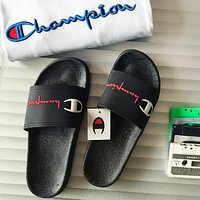 CHAMPION 2018 new men and women couple models casual sports slippers F0444-1 black