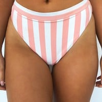 Beachaholic Bikini Bottom: Coral Peach/Cream