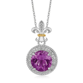 Round Amethyst + Diamond Accents Pendant & Necklace in Silver + Gold