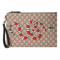 Gucci Snake Letters Handbag Wrist bag Women Men Mash bag Makeup bag Apricot
