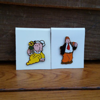Vintage Popeye Wimpy and Swee'Pea Enamel Pins Set of 2