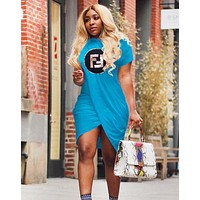 Fendi New fashion bust letter sequin irregular short sleeve dress