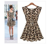 ZLYC Sleeveless Ladies Sexy Leopard Print Skater Chiffon Dress for Women (M)