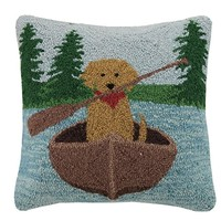 Golden Lab Canoeing Pillow 16X16""